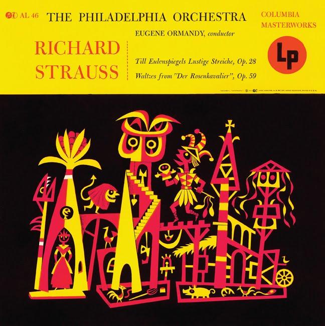 """Eugene Ormandy & the Philadelphia Orchestra's  Richard Strauss: Till Eulenspiegels [sic] Lustige Streiche and Waltzes from Der Rosenkavalier -  Columbia Masterworks 10"""" LP, 1954"""