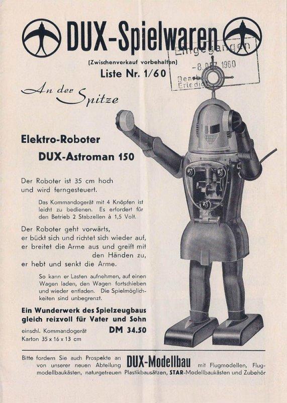 DUX-Astroman 150 Catalog Listing - 1960